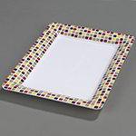 """Carlisle 44417918 Pallete Designer Rectangular Platter - 14x10"""" Melamine, Mediterranean Tile"""