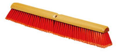 "Carlisle 4501424 24"" Floor Sweep - Fine, Hardwood Block, Flagged Poly Bristles, Orange"