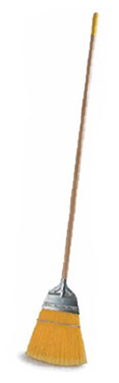 "Carlisle 4564304 12"" Lobby Broom - 18# Fill, 55"" Wood Handle, Yellow"