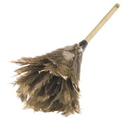 "Carlisle 4574300 24"" Feather Duster - Wood Handle, Brown"