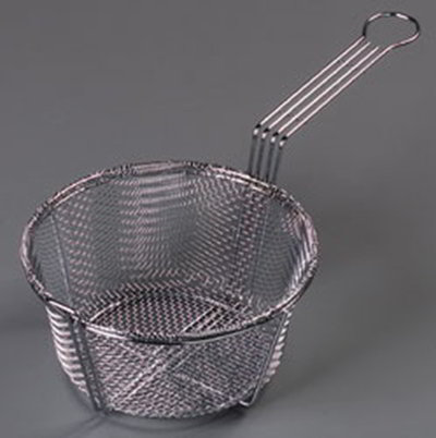 "Carlisle 601000 8.75"" Round Fryer Basket, Nickle Plated"