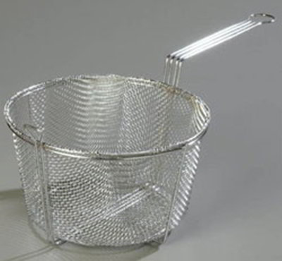 "Carlisle 601003 13.5"" Round Fryer Basket, Nickle Plated"