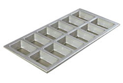 Carlisle 606903 Mini Loaf Pan - 12-Loaves, Aluminized Steel