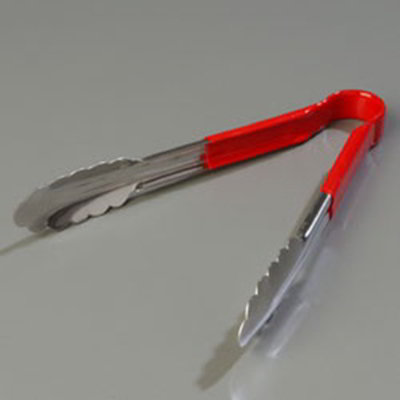 "Carlisle 60756005 9-1/2"" Utility Tongs - Stainless/Red"