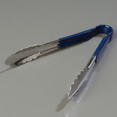 "Carlisle 60756014 9-1/2"" Utility Tongs - Stainless/Blue"
