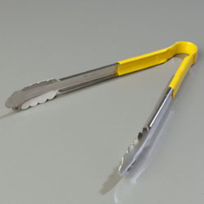 "Carlisle 60756204 12"" Utility Tongs - Stainless/Yellow"