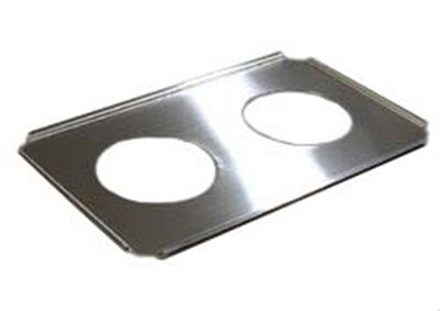"Carlisle 607712 Full-Size Adapter Plate - (2)6-1/2"" Inset Holes, Stainless Steel"