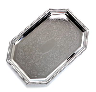 "Carlisle 608902 Octagonal Celebration Tray - 20x13-3/4"" Chrome-Plated"