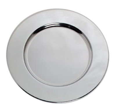 "Carlisle 608924 12-1/4"" Celebration Charger Plate - Wide Rim, Chrome"