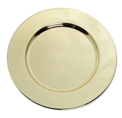 "Carlisle 608925 12-1/4"" Celebration Charger Plate - Wide Rim, Brass"