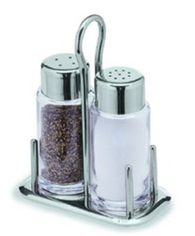 Carlisle 609195 Maestro Salt Pepper Set, 2-oz Shakers, Stainless Steel Holder