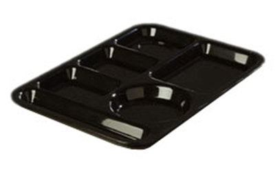 "Carlisle 61403 Rectangular (6)Compartment Tray - Left-Handed, 13-7/8x9-7/8"" Black"