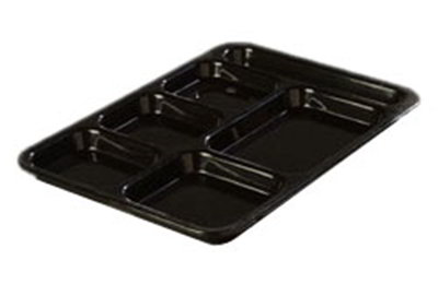"Carlisle 614R03 Rectangular (6)Compartment Tray - Right-Handed, 14-3/8x10"" Black"