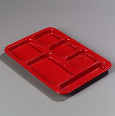 "Carlisle 614R05 Rectangular (6)Compartment Tray - Right-Handed, 14-3/8x10"" Red"