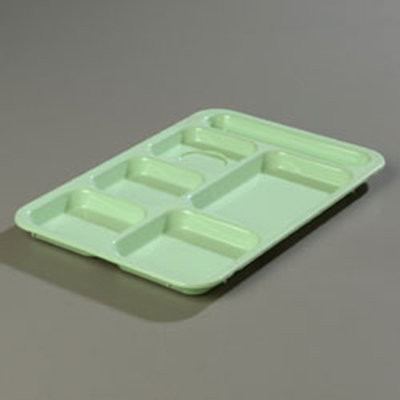 "Carlisle 614R09 Rectangular (6)Compartment Tray - Right-Handed, 14-3/8x10"" Green"