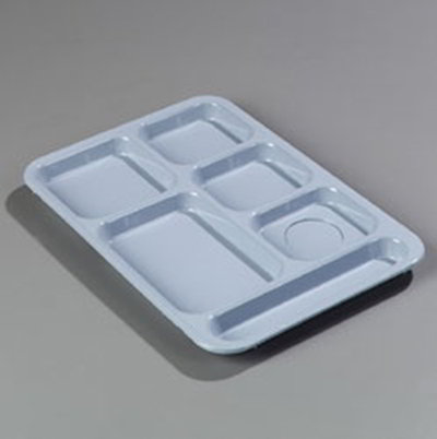 "Carlisle 614R59 Rectangular (6)Compartment Tray - Right-Handed, 14-3/8x10"" Slate Blue"