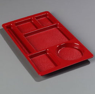 "Carlisle 61505 Rectangular (6)Compartment Tray - Left-Handed, 15x8-3/4"" Red"