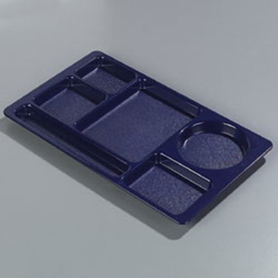 "Carlisle 61514 Rectangular (6)Compartment Tray - Left-Handed, 15x8-3/4"" Blue"