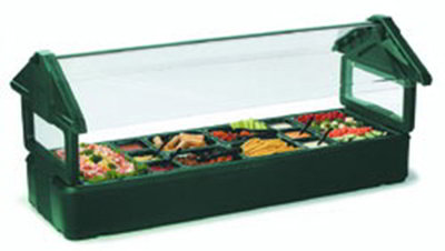 Carlisle 660108 Table Top Food Bar, 6 ft., Double Sided Sneeze Guard, Forest Green