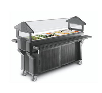 Carlisle 660603 Portable Food Bar - (5)Full-Size Pan Capacity, Polyethylene, Black