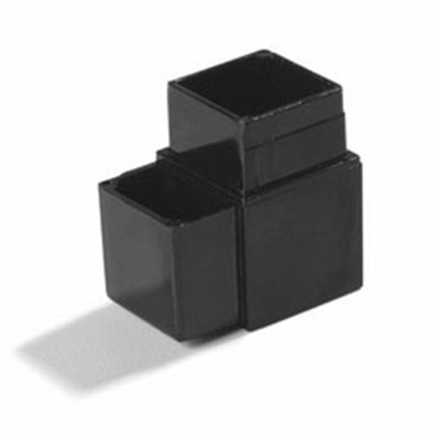 "Carlisle 900403 Sneeze Guard Assembly Block - 1"" Square, 90-Angle, Aluminum, Black"
