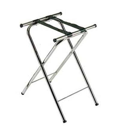 "Carlisle C362503 Folding Tray Stand - 19-1/4x15x31-1/2""(2)Black Straps, Chrome/Black"