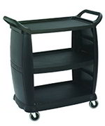 Carlisle CC203603 Bus Cart - 300-lb Capacity, 3-Textured Shelves, Polypropylene, Black