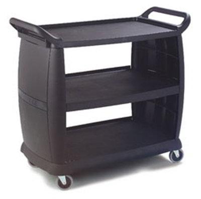 "Carlisle CC224303 Bus Cart - 42x23"" 300-lb Capacity, 3-Textured Shelves, Polypropylene, Black"