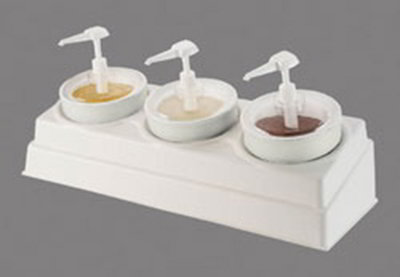 Carlisle CM105802 Coldmaster Crock Condiment Set - (3)Crocks, Pumps/Lids, White