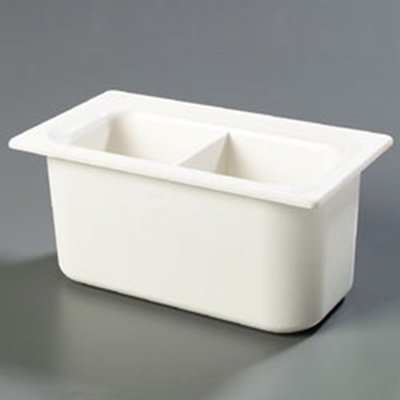 "Carlisle CM110302 Coldmaster 1/3 Size Divided Food Pan - 6""D, White"
