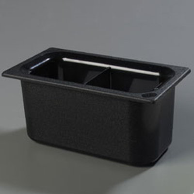 "Carlisle CM110303 Coldmaster 1/3 Size Divided Food Pan - 6""D, Black"
