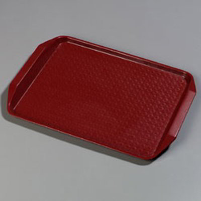 "Carlisle CT121705 Rectangular Cafe Tray - 17x12"" Red"
