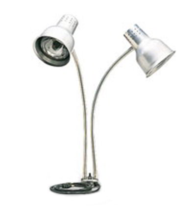 "Carlisle HL828500 Heat Lamp - Counter-Mount, (2)24"" Dual Flex Arms, 4"" Base, Aluminum 110-120v"