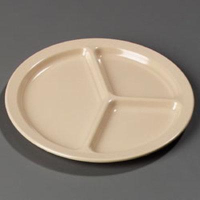 "Carlisle KL10225 10"" Kingline (3)Compartment Plate - Melamine, Tan"