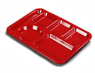 "Carlisle P61405 Rectangular (6)Compartment Tray - Left-Handed, 13-7/8x10"" Red"