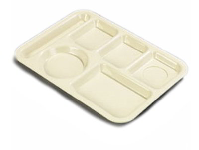 "Carlisle P61425 Rectangular (6)Compartment Tray - Left-Handed, 13-7/8x10"" Tan"