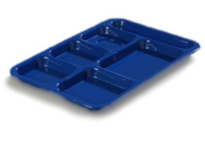 Carlisle P614R14 Rectangular Tray w/ (6) Compartments, Polypropylene, Blue