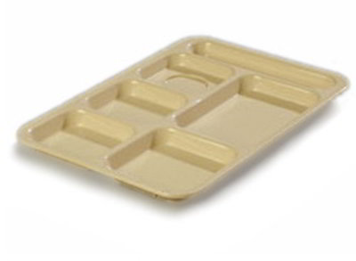 "Carlisle P614R25 Rectangular (6)Compartment Tray - Right-Handed, 14-3/8x10"" Poly, Tan"