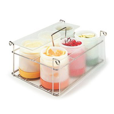 "Carlisle PS101CS00 Condiment Caddy - (6)Pint Containers, 12x9x4-3/4"" Clear"