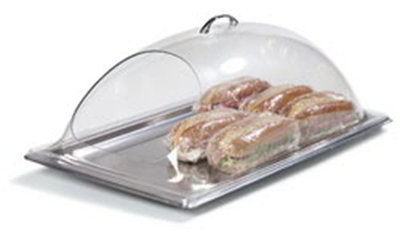 "Carlisle PSD21EH07 Rectangular Food Pan Display Cover - 21.25"" x 13.375"", Polycarbonate, Clear"