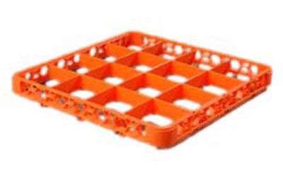 Carlisle RE16C24 Full-Size Color-Coded Glass Rack Extender - 16-Compartment, Orange