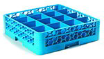 Carlisle RG16114 Full-Size Dishwasher Glass Rack - 16-Compartments, 1-Extender, Blue