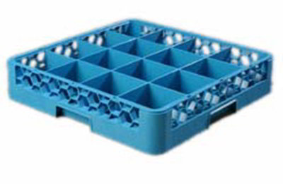 Carlisle RG1614 Full-Size Dishwasher Glass Rack w/ (16) Compartments, Textured Blue