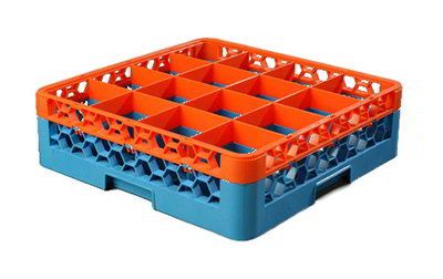 Carlisle RG161C412 Full-Size Dishwasher Glass Rack w/ (16) Compartments & Extender, Blue/Orange