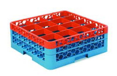 Carlisle RG16-2C412 Full-Size Dishwasher Glass Rack - 16-Compartments, 2-Extenders, Orange/Blue