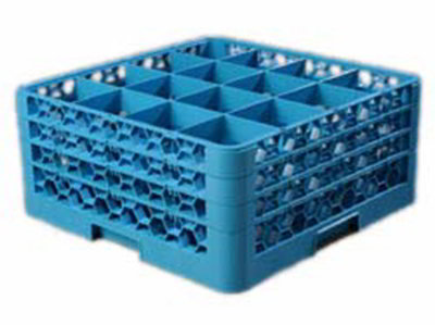 Carlisle RG16314 Full-Size Dishwasher Glass Rack - 16-Compartments, 3-Extenders, Blue