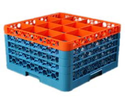 Carlisle RG164C412 Full-Size Dishwasher Glass Rack - 16-Compartments, 4-Extenders, Orange/Blue