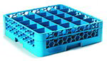 Carlisle RG25114 Full-Size Dishwasher Glass Rack - 25-Compartments, 1-Extender, Blue
