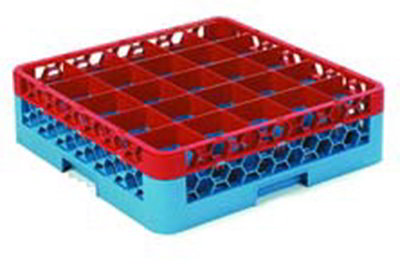 Carlisle RG25-1C410 Full-Size Dishwasher Glass Rack w/ (25) Compartments & Extender, Blue/Red