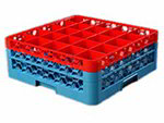 Carlisle RG252C410 Full-Size Dishwasher Glass Rack - 25-Compartments, 2-Extenders, Red/Blue